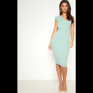 Mint One Shoulder Draped Midi Dress